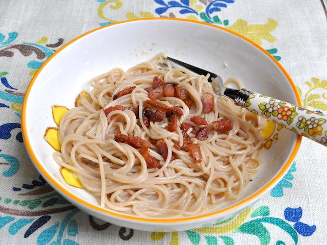 Spaghetti senza glutine integrali alla carbonara