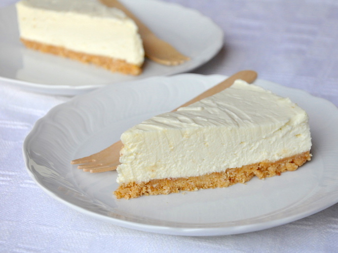 Cheesecake senza cottura al cioccolato bianco