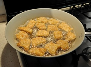 Cottura delle crocchette di pollo senza glutine