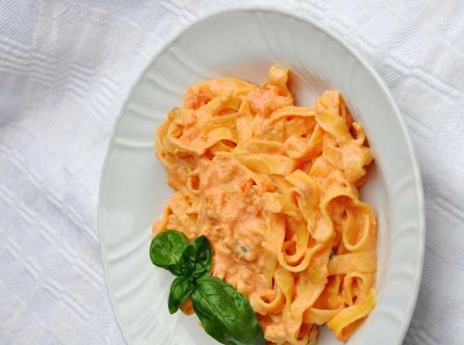 Pasta senza glutine alla crema di peperoni